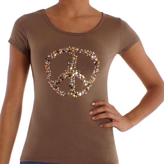 damen peace t shirt pailletten strass shirt olivgr n. Black Bedroom Furniture Sets. Home Design Ideas